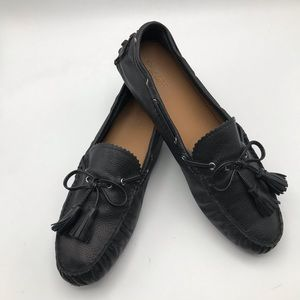 COACH Nadia BLACK LEATHER Driving MOCCASIN Loafers